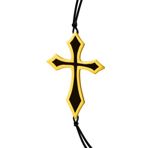 B26 CROSS BRACELET (yellow gold plated,black Enamel)