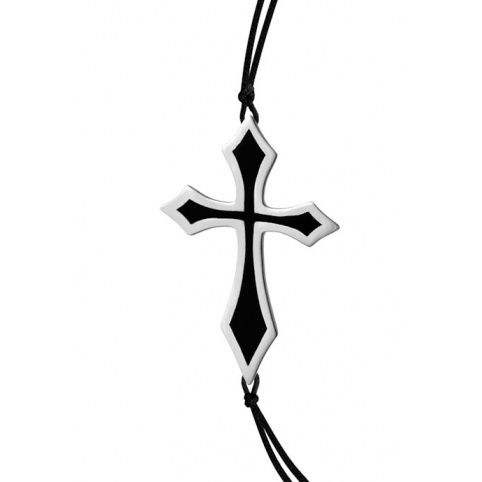 B23 CROSS BRACELET (platinum plated,black Enamel)