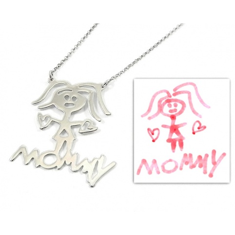 Kids drawing necklace, actual children drawing with 1 figure