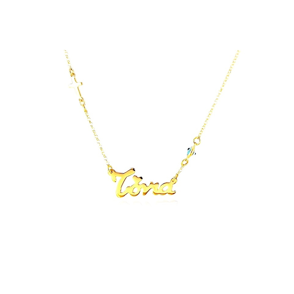Gold plated necklace with your name rhinestone cross, evil eye and silver chain plated with 14K gold