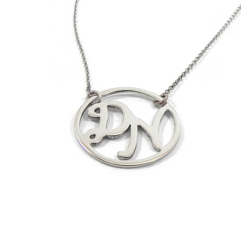Silver necklace with 2 monograms in a wreath with hearts