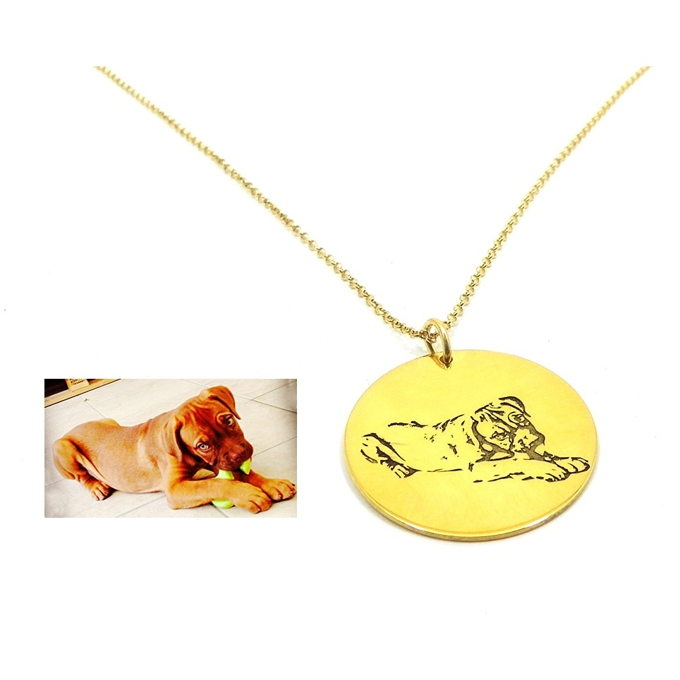 Necklace with engraved photo on a silver plate