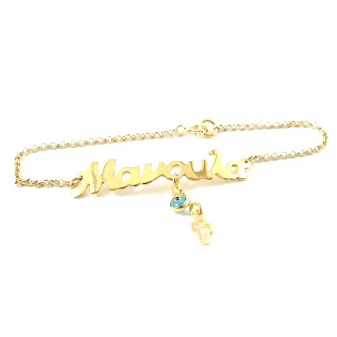 Gold plated bracelet with the word Manoula on silver chain plated with 14K gold