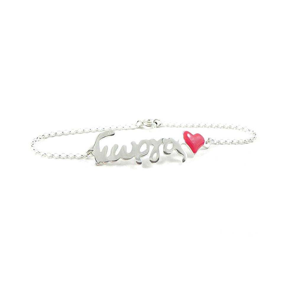 Silver bracelet with your name, red heart and sterling silver chain