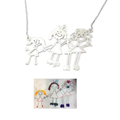 Kids drawing necklace, actual children drawing with 3 or more figures