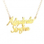 Gold plated necklace with 2 names with silver chain plated with 24K gold