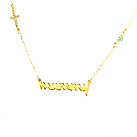 Gold plated silver necklace with the word mummy, rhinestone cross and evil eye