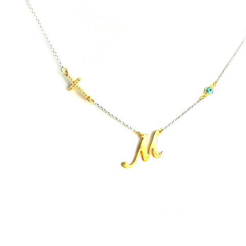 Silver necklace with gold plated monogram, rhinestone cross, evil eye and sterling silver chain