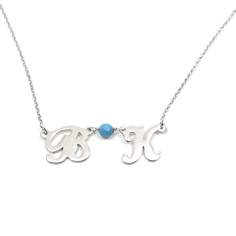 Silver necklace with 2 initials and sterling silver chain