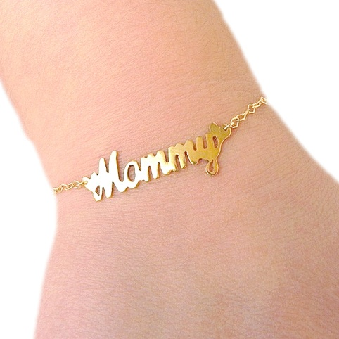 Gold plated Mommy bracelet with silver chain plated with 24K gold