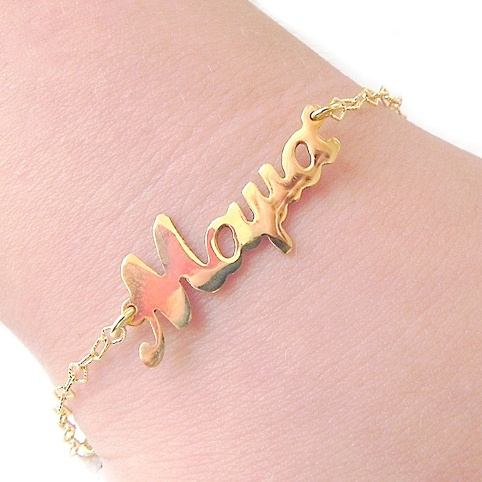 Gold plated bracelet with the word mama on silver chain plated with 24K gold