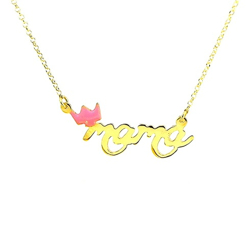 Gold plated necklace with the word mama on silver chain plated with 24K gold