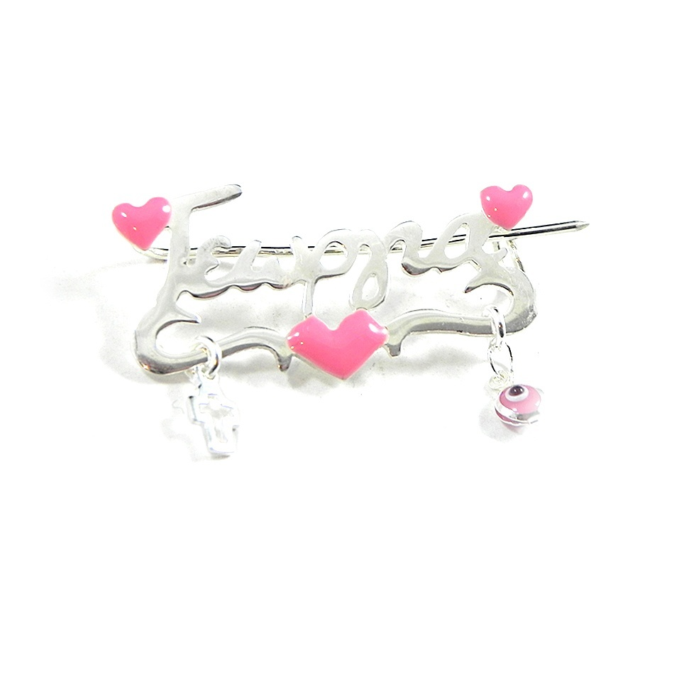 Handmade sterling silver pin with any name and enamel hearts