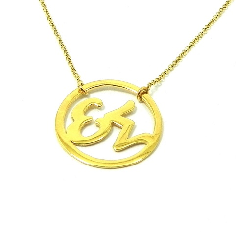 Silver necklace with 2 monograms in a ring