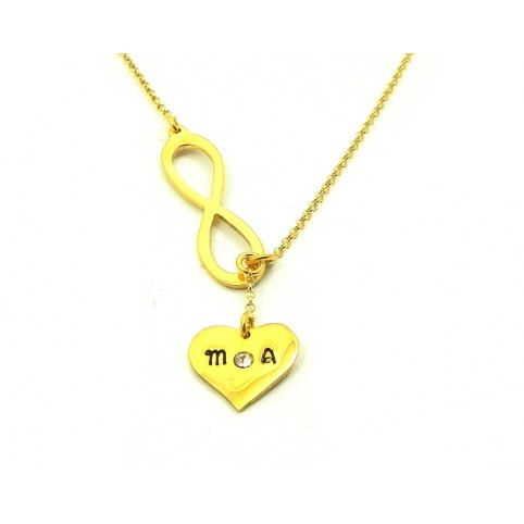 Gold plated silver necklace with 2 initials, crown and gold plated sterling silver chain