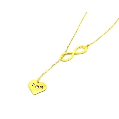 Necklace with infinity, heart with 2 initials and swarovski