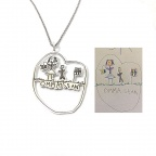 Silver necklace with kids drawing, actual children drawing