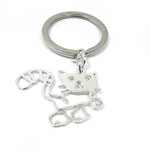 Kids drawing silver keychain with enamel, actual child drawing key chain