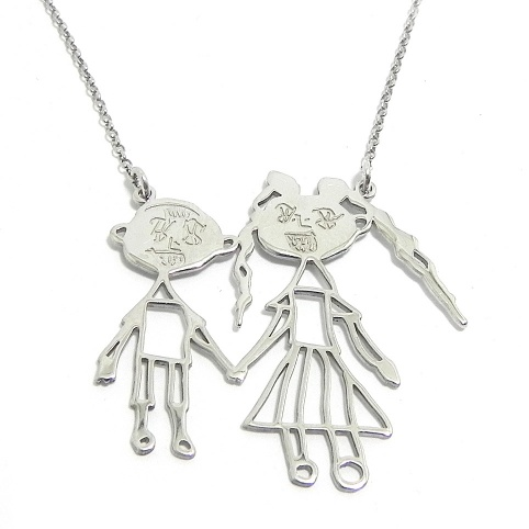 Kids drawing necklace, actual children drawing with 2 figures