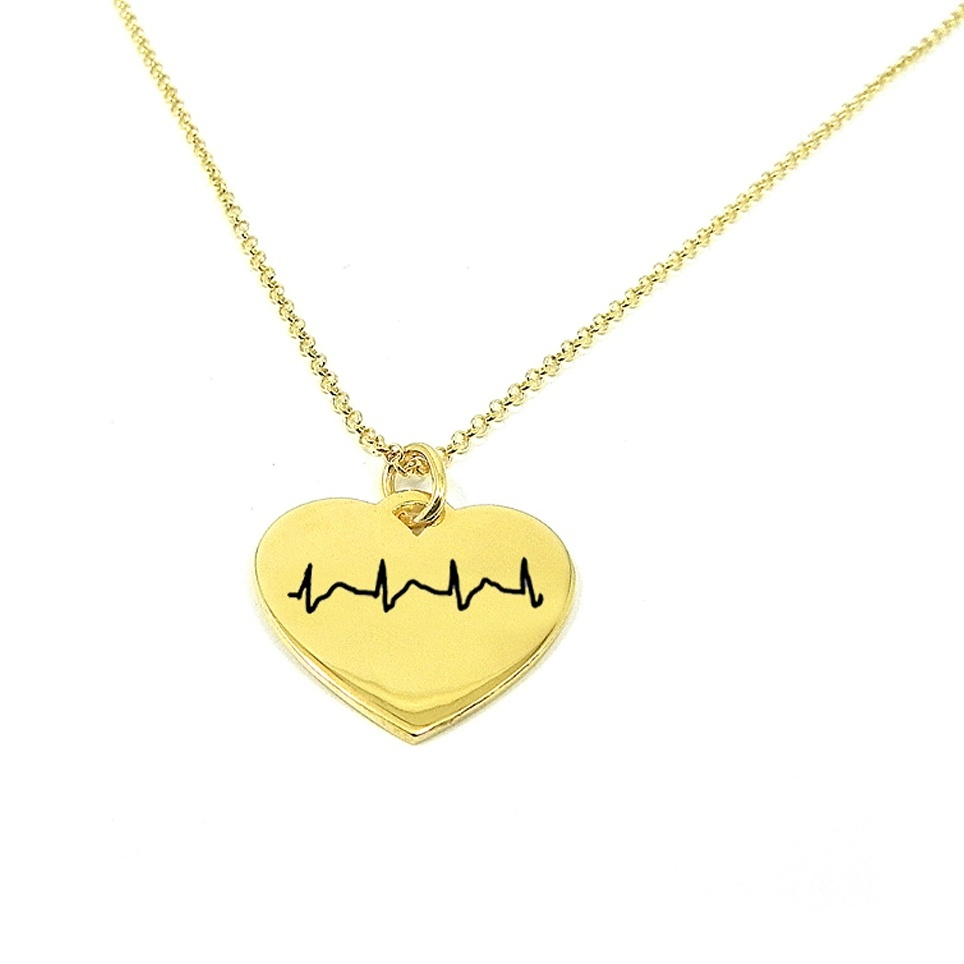 Necklace with your heartbeat diagram