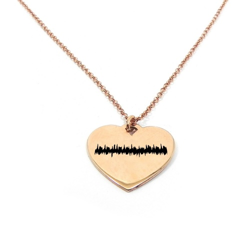 Necklace with your heartbeat diagram engraved on a heart