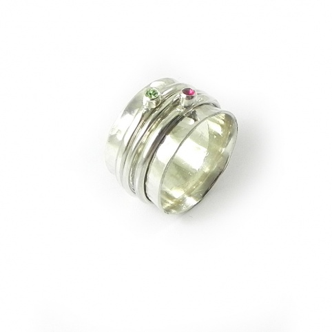 Silver ring 10mm with 2 swarovski spinners