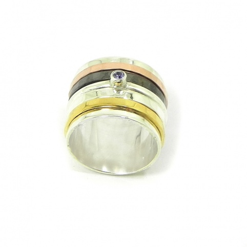Silver ring 10mm with 1 swarovski spinner