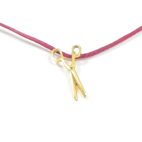 Gold K14 scissors necklace