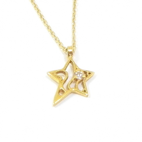 Gold K14 star necklace with zircon