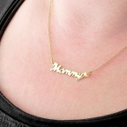 Gold plated mommy necklace with silver chain plated with 24K gold