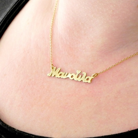 Necklace with the word Manoula with silver chain plated with 24K gold