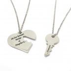 Διπλό κολιέ καρδιά με κλειδί σε ασήμι 925