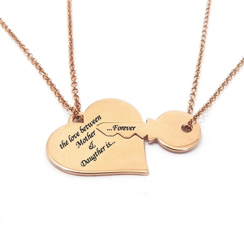 Double heart necklace with key in rose gold plated aterling silver