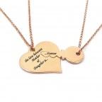 Διπλό κολιέ καρδιά με κλειδί σε ασήμι 925 ροζ επιχρυσωμένο