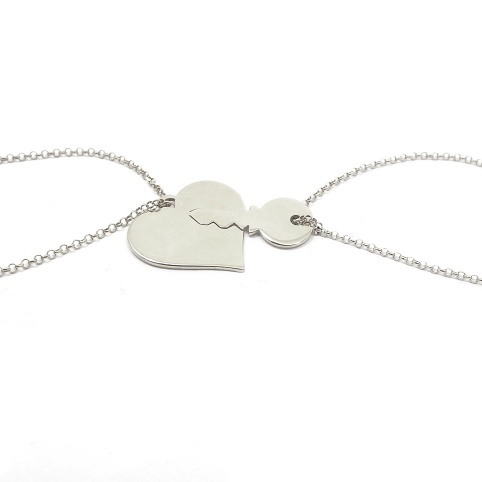 Double heart necklace with key in sterling silver