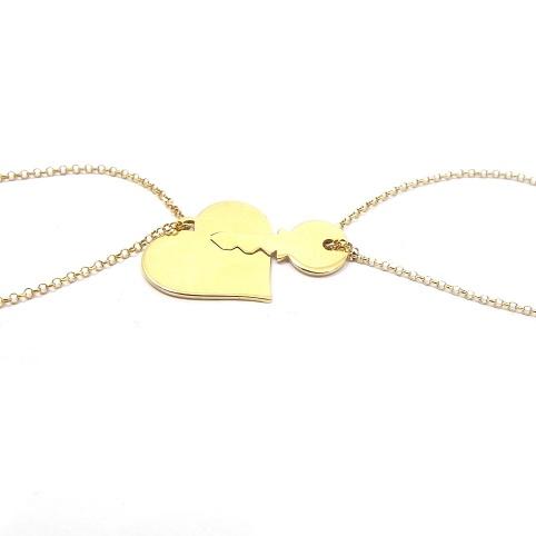 Double heart bracelet with key in sterling silver