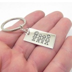 Metal plate keychain with your family engraved