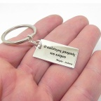 Metal plate keychain with engraving
