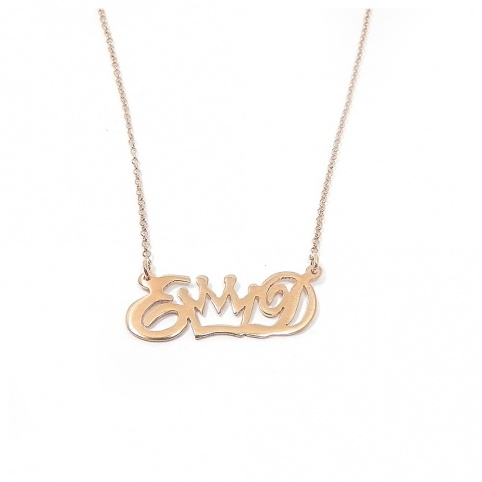 Sterling silver necklace with monograms and crown gold plated