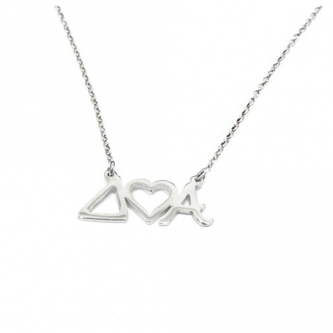 Sterling silver necklace with monograms and crown platinum plated