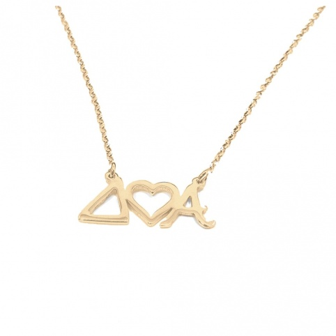 Sterling silver necklace with monograms and heart gold plated