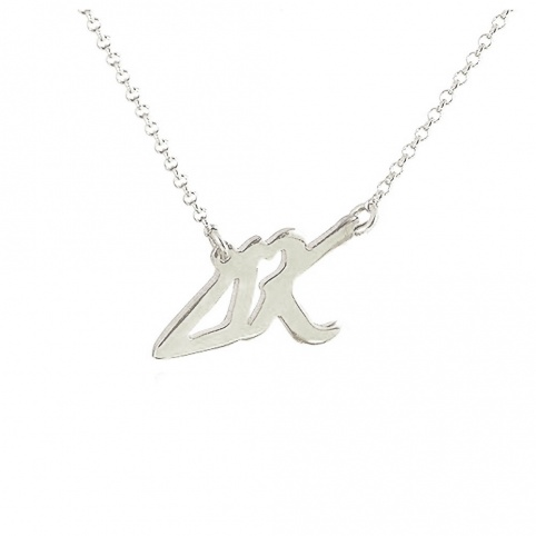 Sterling silver necklace with monograms and heart platinum plated