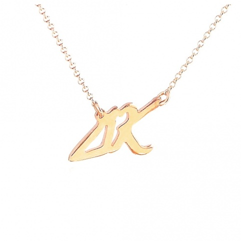 Sterling silver necklace with monograms gold plated