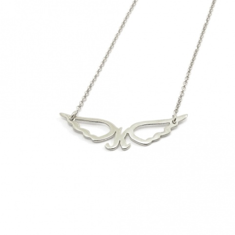 Sterling silver necklace with small monogram with wings platinum plated