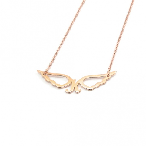 Sterling silver necklace with small monogram with wings gold plated