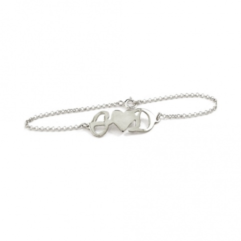 Sterling silver bracelet with your monograms rose gold plated