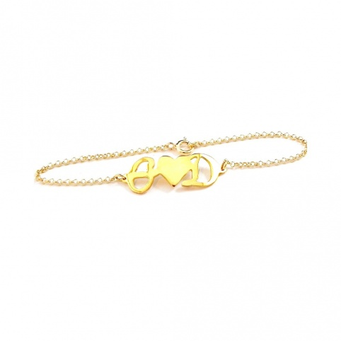 Sterling silver bracelet with your monograms gold plated