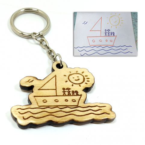 Wooden keychain with drawing engraving