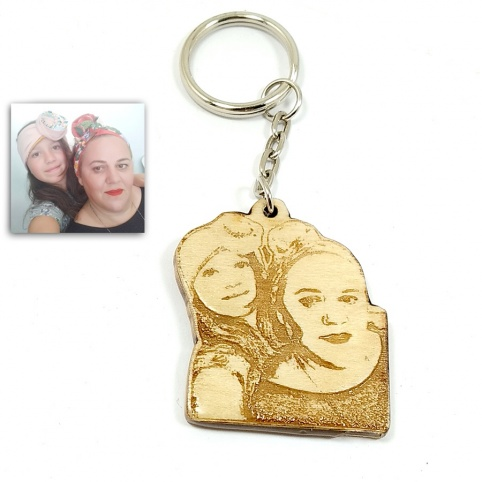 Wooden keychain with photo engraving