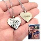 Necklace with engraved photo on a heart pendant and date on the back side
